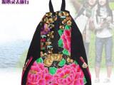 云南民族风包包2014新款女复古帆布绣花双肩包古典学生旅行背包