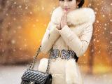 韩版新款大毛领羽绒服女中长款修身加厚狐狸毛领单排扣女款送腰带
