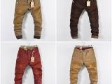 厂家直销 外贸男裤男士水洗纯棉染色磨破做旧休闲裤 春秋季长裤