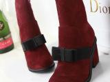 欧美奢华大牌红色系玫红色蝴蝶结坡跟磨砂中筒靴广州鞋厂代发