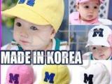 婴儿服装用品批发 韩版M字刺绣儿童棒球帽/遮阳帽/太阳帽