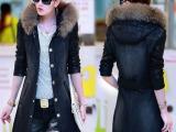 韩版秋冬装新品牛仔风衣外套女中长款加厚修身外套真毛领大衣