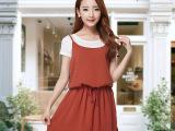 2015韩版新款拼接雪纺假二件连衣裙女夏时尚吊带短裙