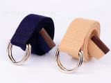 新款学生双环扣帆布编织腰带双圈扣皮带户外军训皮带