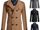 新款男装批发 精致双排扣呢大衣 男士韩版修身中长款风衣外套