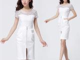 热卖欧美2014夏季女装新款 蕾丝拼接修身开衩短袖高档连衣裙