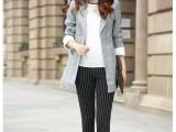 厂家批发大码女装加大超弹力铅笔条纹长裤胖MM超显瘦打底裤