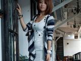 秋冬季新款女装 韩版纯棉条纹女式针织开衫 长袖修身印花圆领外套