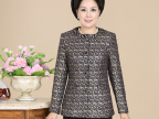 2014秋季女装新款品牌中老年女装圆领烫金外套气质女装大码外套女