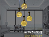 铁艺简约led吊灯 创意水晶珠工艺精致吊灯 室内led个性灯罩灯具