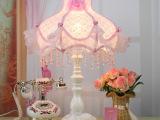 古镇灯饰生产厂家 粉红灯罩结婚台灯批发卧室照明灯具床头灯2034