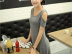 2014春夏女装新款裙子 韩版素色莫代尔 露肩连衣裙
