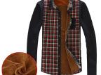2014秋冬新款男装 男式加厚加绒格子衬衫 时尚都市保暖打底衫批发