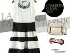 4W155 2014夏季新款钻石领条纹雪纺拼色圆领无袖连衣裙
