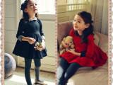 韩版女童2014春款 七分袖优雅时尚翻领女童连衣裙童裙 厂家直销