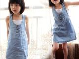 2014童装女童牛仔裙+背心两件套夏款儿童牛仔连衣裙背带裙套装
