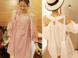 8517#一件代发2014韩国女装夏装性感露肩灯笼袖格子娃娃连衣