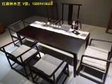 黑檀木家具 原木茶桌 新中式现代黑檀木茶台书桌办公会议桌