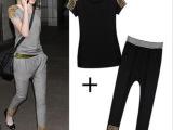 欧洲站套装2014欧美套装夏季女装短袖哈伦小脚裤运动套装女