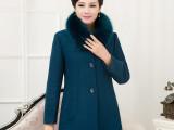 2014秋冬新款女装大毛领中老年羊绒毛呢外套女韩版修身大衣短款