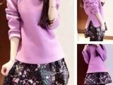 韩国代购 秋季新款腰部侧拉链设计毛呢上衣+钩花短裙套装 两件套