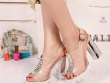 欧美新款真皮后绑带高跟粗跟舒适时尚超美鱼嘴女鞋