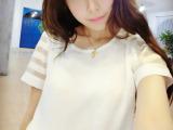 清仓韩国代购2014新款夏装休闲欧根纱雪纺拼接上衣女短袖 t恤