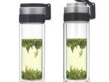 双层透明玻璃杯 礼品杯定制批发耐热防漏水杯 带盖提手杯子