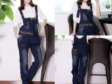 2013韩国孕妇装 孕妇裤 孕妇背带裤 牛仔背带裤 孕妇时尚背带