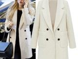 2014冬装新款时尚双排扣加棉毛呢女装外套欧美女款呢子大衣批发女