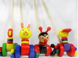 卡通动物木质单杆手推车 儿童推推乐木制宝宝拖拉 木制