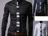 ebay速卖通外贸热卖长袖衬衫男修身商务男士暗纹菱格长袖衬衣男潮
