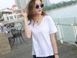 夏季新款纯棉v领t恤女短袖韩国学生半袖白