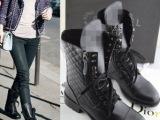 2014欧洲站马丁靴 菱格纹真皮中筒靴平底双拉链短靴机车靴厂家