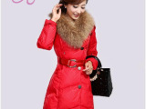 2014正品新款韩版超大毛领女士修身中长款羽绒服潮女装厂家直销
