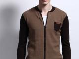 冬季圆领拼色加厚保暖针织衫韩版男装打底毛衫