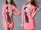 欧洲站2014春夏女装爆款 新款贴布小女孩打底连衣裙 批发