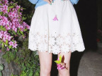 夏季新款花瓣镂空高腰松紧短裙半身裙