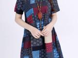 2014夏季韩版女装大码韩版V领拼接花色短袖连衣裙棉麻连衣裙