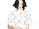 2014日式日系女装杂志明星同款纯棉女式t恤几何图案品牌正品限量