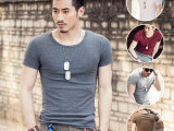 新款男式T恤纯色弹力棉男士短袖t恤厂家直销批发男装一件代发