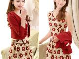 2014秋装新款韩版两件套连衣裙 修身显瘦长袖连衣裙套装