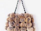 兔毛球包 时尚女包 皮草包包兔毛球球包包女手提包 普通号 4排球