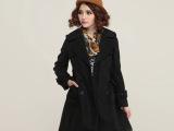 2014秋冬新品女装 欧美修身呢子大衣中长款毛呢外套 女