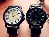 供应休闲简约大表盘腕表 男士高档品牌手表 外贸真皮带礼品手表