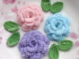 手钩花辅料 立体玫瑰 3花6叶  手工 服装头饰装饰花朵 多瓣加