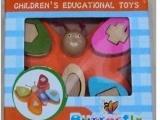 2高品质木制益智玩具 五柱蝴蝶套柱玩具
