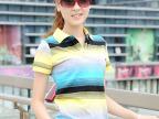 全棉拉架 短袖T恤 2013春夏新款 条纹 女装 翻领 短袖 2127
