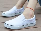帆布鞋女韩版潮套脚学生平底懒人鞋一脚蹬纯白色绘画一件代批发