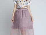 2015夏季新款半身裙网纱 假两件时尚百搭长款百褶裙子 半身长裙
